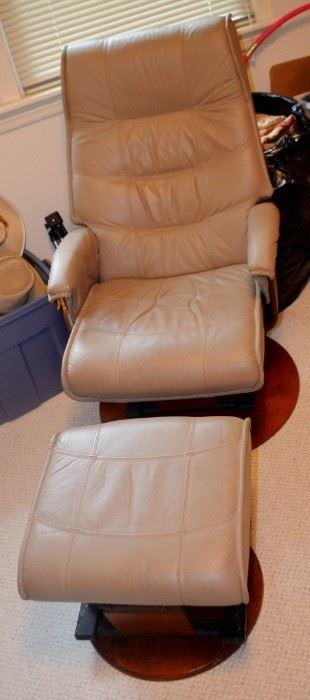 Leather Chair & Ottoman Glider