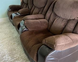 Set of 2 recliner theater seats and one stand alone matching rocker  recliner