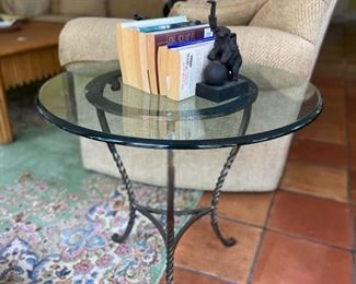 Pair glass and iron accent tables