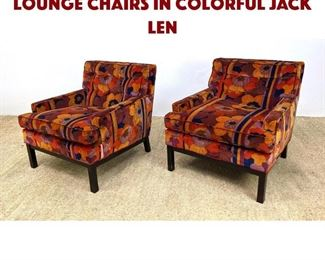Lot 1201 Pair of Dunbar Style Lounge Chairs in Colorful JACK LEN