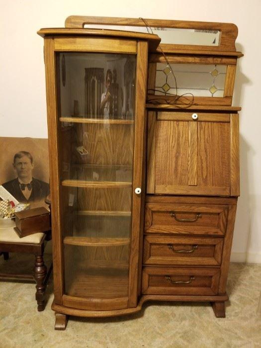 Vintage Portrait, Beautiful Vintage Oak Secretary Desk with Mirrors