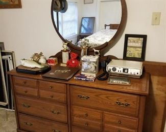 Wooden Buffet with Mirror, Old Dog Trophies, Midland CB Radio, and more...