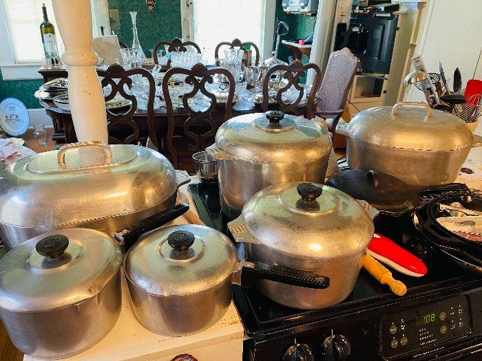 Collection of Vintage Magnalite Pots & Cast Iron Pots