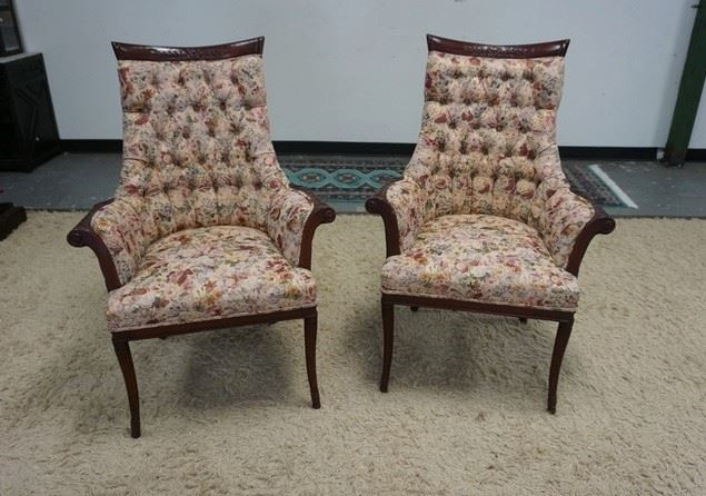 1001PAIR OF UPHOLSTERED FLORAL TUFTED MAHAGONY SCROLLED ARMCHAIRS W/ FLUTED LEGS
