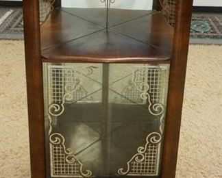 1002SMALL BIEDERMEIER STYLE MIRROR BACKED CORNER CURIO CABINET W/ SILVER ACCENTED SLIDING GLASS DOORS. 27 IN W X 14 1/2 IN DEEP, X 45 3/4 IN H
