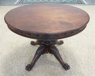 1003OVAL WALNUT VICTORIAN CLAW FOOT LAMP TABLE W/ LEAF & VINE CARVED SKIRT 36 IN X 30 1/2 IN X 27 1/2 IN H