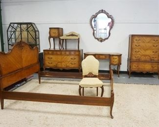 1006OUTSTANDING FRENCH PROVINCIAL 8 PIECE BEDROOM SET W/CHESTS & BED HAVING FLORAL SCROLLING URN INLAY