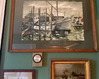Dining Room  Large Marina Watercolor, Early Oil Painting