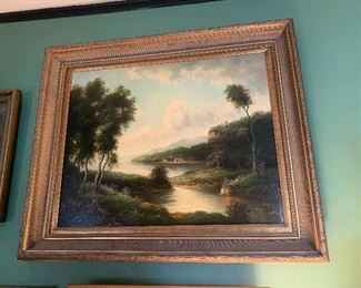 Dining Room  Early Oil Painting-Hudson River Style