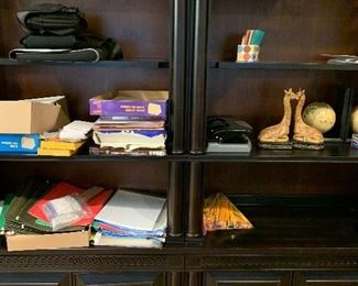 Book shelves and office supplies