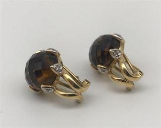 14K Gold Smokey Quartz Diamond Earrings