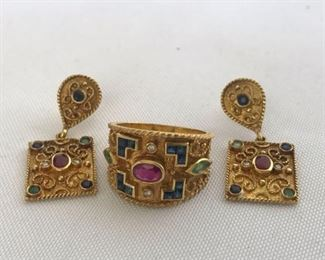 18K Gold Byzantine Ring and Earrings