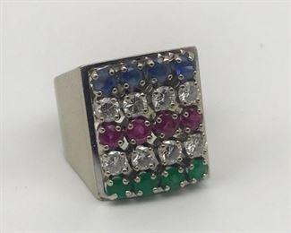 18K Gold Sapphire Diamond Ruby Ring