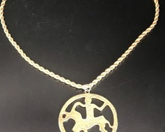 24in Woven Rope Gold Filled Necklace with Medallion
