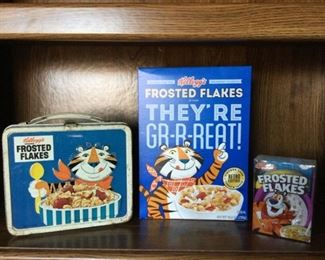 Vintage Tony the Tiger Frosted Flakes Lunch Pail, Frosted Flakes Cereal Box and Toy Cereal Bowl