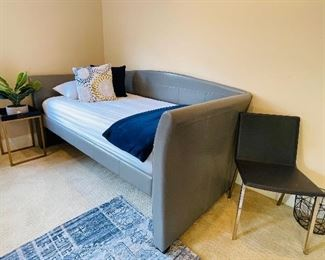 Grey faux leather daybed