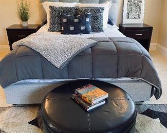 Upholstered grey platform bed