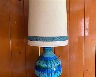 Vintage MId Century Blue Drip Glaze Table Lamp