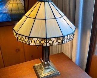 Tiffany Style Slag Glass Shade Table Lamp