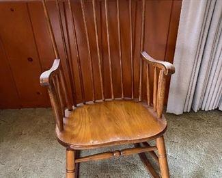 Vintage Wood Spindle Back Rocking Chair
