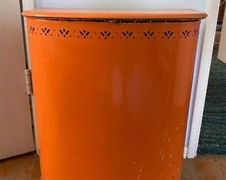 Vintage Detecto Bright Orange Painted Metal Laundry Hamper