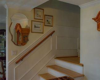 mirror, art, stairs basket