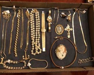 14k & 18K Bracelets, Necklaces, Pearls, Watches, Cameo, Portrait Brooch, Crucifix