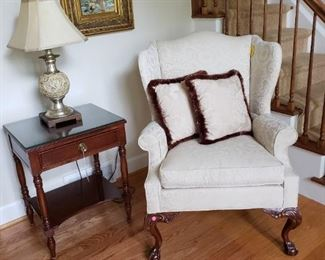 Mahogany one drawer side table and wing back chair