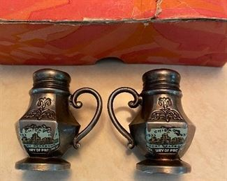 Fort Dearborn Salt & Pepper Shakers from 1933 from Chicago World's Fair in original box, $24