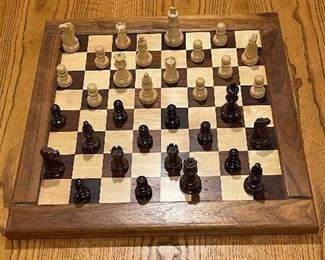 Wooden board Chess/Checkers set, $20