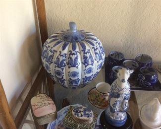 Pumpkin shaped blue and white jar