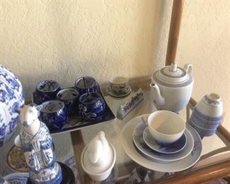 Blue and white asian tea sets