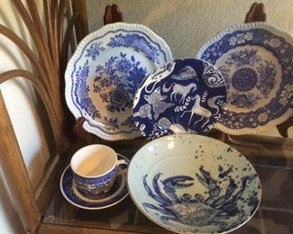 Blue and white decor, Spode, Japanese pieces