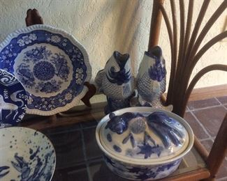 Blue and white asian pottery