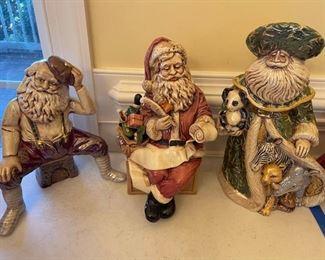 3 Intricately Posed Santa Figurines