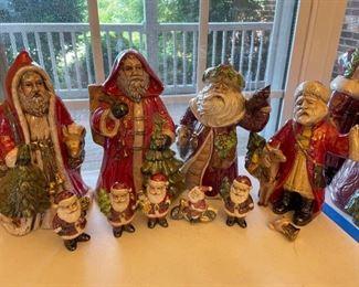 Assorted Pearlescent Ceramic Santa Figures