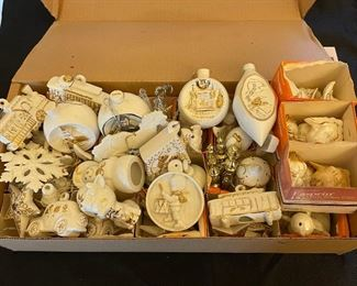Assorted White N Gold Christmas Ornaments