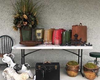 Topiaries and suitcases