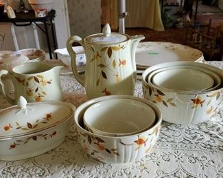 Halls Autumn Leaf bowls, pitcher, coffee pot and covered dish