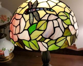 Leaded stained glass metal based lamp with dragonfly