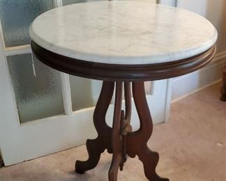 Marble top Eastlake side table with walnut base