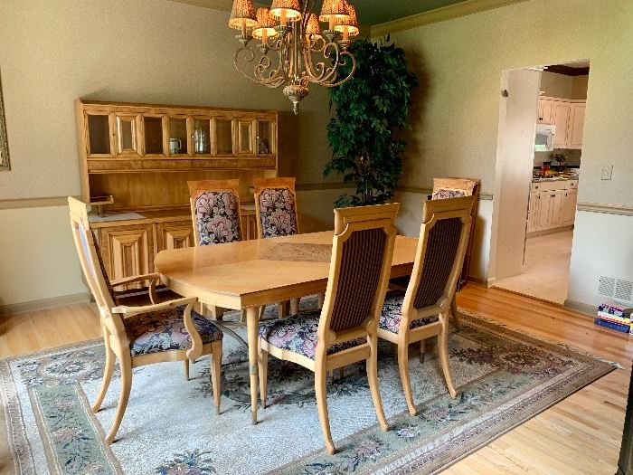 1962 Mid-Century Modern Combo Maple/Burled Maple Dining Room Table, 6 Chairs & Breakfront/Server/Buffet