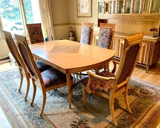 """Dining Room Table, 72"""" L x 42"""" W                                                            6 Tallback Chairs, 2 w/Arms, 4 Armless"""