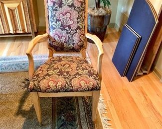 1 of 2 Armed, Upholstered Dining Room Chairs