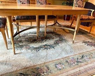 Custom Designed Metal Table Base & Floral Rug