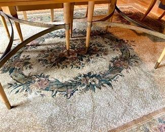 Custom Designed Brushed Metal Table Base & Floral Rug
