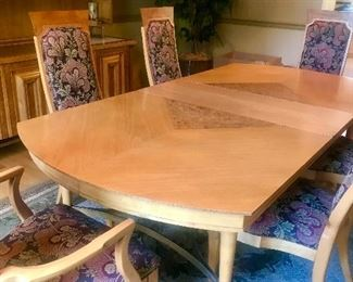 1962 Mid-Century Modern Combo Maple/Burled Maple Dining Room Table &  6 Chairs