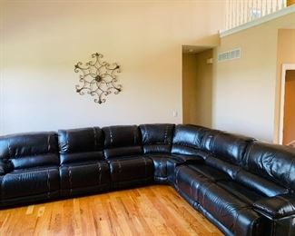 Chocolate Brown Leather sectional with electric recliners , $800 firm