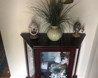 Mahogany display case with matching mirror