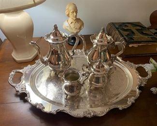Beautiful plated tea and coffee service.